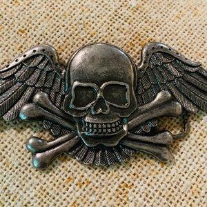 Antiqued Silver Skull & Wings Belt Buckle